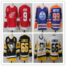 Wholesale Howe Jersey - NHL Jerseys #9 Gordie Howe #99 Wayne Gretzky #66 Mario Lemieux With C Patch Jersey Authentic Hockey Stitched Jersey