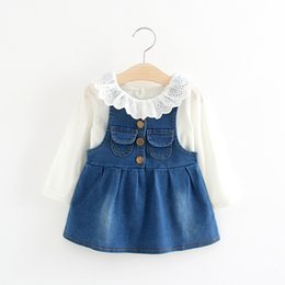 Wholesale Little Girls Outfits Cute - Girls Two Pockets Suspender Denim Dresses Set 2017 Fall Kids Boutique Clothing 1-4 Year Little Girls Ruffle Collar Tee+Dresses Outfits