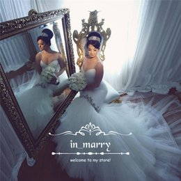 Wholesale Italy Women Sexy - Sexy African Mermaid Wedding Dresses 2017 Crystal Beaded Plus Size Arabic Italy Women Trumpet Spaghetti Straps Tulle Skirt Cheap Bridal Gown