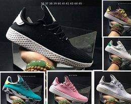 Wholesale Pw Blue - Free Shipping 2017 Mens Tennis Hu x Pharrell Shoes Pw Black White Tennis Sneakers On Sale Runninge 36-45