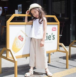 Wholesale Khaki Vest Wholesale - 2017 Summer New Girl Two Piece Sets White Vest+Khaki Wide leg pants Cotton Outfits Children Clothing 5-14T 71716