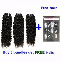 """Wholesale Chinese Processed Remy Hair - Brazilian Chinese Cambodian hair extensions virgin remy human hair weave water wave 12-24"""" natural color 3pcs lot with free nail Quercy Hair"""