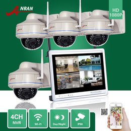 Wholesale Dome Wireless - ANRAN Plug and Play CCTV P2P 4CH NVR 12 Inch LCD Monitor Vandal-Proof Dome Outdoor 30 IR 1080P IP Wireless WIFI Camera Security System Kits