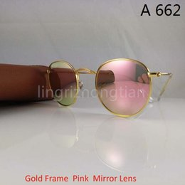 Wholesale Womens Hot Pink Tops - Hot Top Quality Mens Womens Alloy Sunglasses Retro Round Eyewear Gold Frame Pink Flash Mirror Glass Lens 50mm With Brown box Case