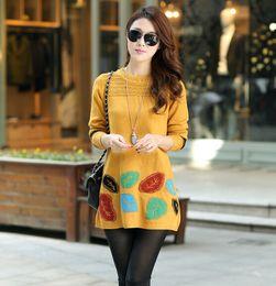 Wholesale Cute Crochet Sweaters - Wholesale-new 2016 autumn and winter women's plus size crochet pullover long outerwear casual cute women sweater dress 5 colors