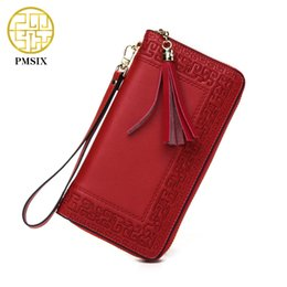 Wholesale Cattle Brands - Wholesale- Pmsix 2017 Embroidery Cattle Split Leather Wallet Zipper Brand Long Womens Wallets Purses Black Red Ladies Clutch Wallet P420017