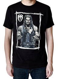 Wholesale Initial L - Casual Mens Roman Reigns Initials T-Shirt 2017 new High Quality 100% Cotton men's T Shirt cheap sell Free shipping