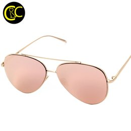Wholesale Rose Glass Shade - Wholesale-New Luxury Aviation Pilot Sunglasses Women Brand Designer Pink Mirror Eyewear Brillen Woman Rose Gold Sun Glasses Shades CC0788