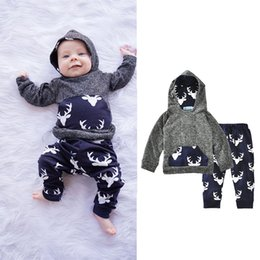 Wholesale Leopard Hoodie Set - Kids Clothing Sets Hoodies Deer Winter Autumn Spring Casual Suits Shirts Pants Hat Infant Outfits Kids Tops & Shorts 0-24M