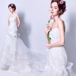 Wholesale Bow Ribbon Charm - New Charming Vintage Crystal Sweetheart Wedding Dress Custom Made Floor Length Organza Mermaid Wedding Gown Ruffles