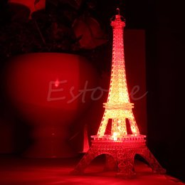 Wholesale Cute Desk Light - Wholesale- 1Pc Lovely Eiffel Tower Night Light Luminaria Cute LED Art Deco Lamp Desk Bedroom Decor Small Luminaria Mesa Lighting 2017