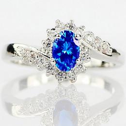 Wholesale Heart Strange - Exquisite 925 Sterling Silver Natural Sapphire Gemstones Birthstone Bride Princess Wedding Engagement Strange Ring Size 6 7 8 9