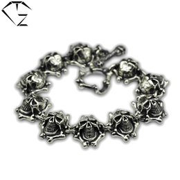 Wholesale Silver 925 Skull Chain - GZ 925 Sterling Silver Bracelet Men Jewelry Skeleton Big Statement Width 20mm 19-25cm Skull Charm Chain 100% Real S925 Thai Silver Bracelets
