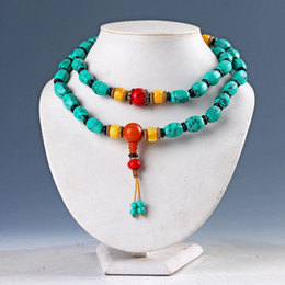 Wholesale Turquoise Rosary - Chinese Old turquoise & Beeswax Handwork Rosary Type Necklaces D1120