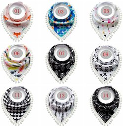 Wholesale Toddler Scarf Cotton - INS Baby Fringe Bibs Infant Tassel Burp Cloths Toddler Cotton Cartoon Pinafore Newborn Printed Fruit Animal Saliva Towel Triangle Head Scarf