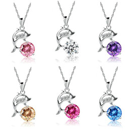 Wholesale Necklaces Choker Style - 2017 Fashion Romantic Dolphin Love pendant necklace Hot sale 6 styles women crystal necklace Jewelry Choker chain Love Gift