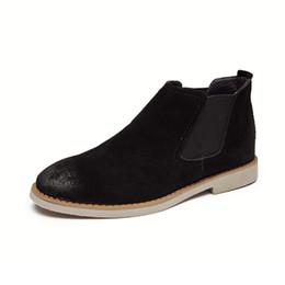 Челси сапоги мужчины замша повседневные платья сапоги ботильоны формальные обувь Santimon черный коричневый серый обувь supplier formal casual brown shoes от Поставщики формальные повседневные коричневые туфли