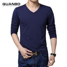 Wholesale Long Sleeve Shirt Types - Wholesale- Men's fashion Spring and Autumn 2016 Slim-type long-sleeved T-shirt Pure cotton casual V-neck men's large size X-5XL shipping