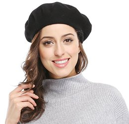 Wholesale Christmas Hats For Ladies - 20pcs Winter Women Solid Color French Wool Blended Beret Autumn Flat Cap Beanie for Lady Free shipping