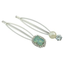 Wholesale Pc Asian - (2 Pcs Set) Trendy Design Silver Plated with Rhinestone and Pearl Hair Clips Barrettes for Women