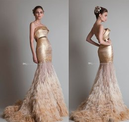 Wholesale Sequined Wrap Dress - Arab Dubai gold ostrich hair tassel mermaid wedding dresses 2017 krikor Jabotian strapless neckline sweep train bridal wedding gowns