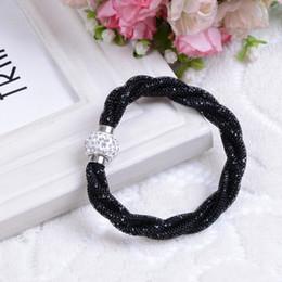 Wholesale Wholesale Crystal Stone Bracelet - Hot Sale 7 Colors Mesh Double Crystal Bracelets with Crystal Stones Filled Magnetic Clasp Charm Bracelets Bangles