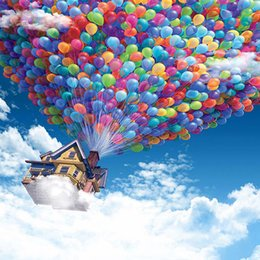 Wholesale House Digital - Digital Photography Blue Sky Cloud Background Flying House with Colorful Balloons Kids Children Scenic Photography Backdrop Fantasy