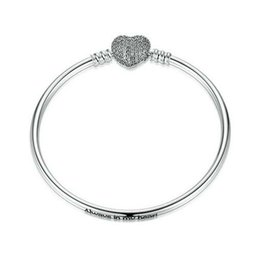 Wholesale Pandora Pave Heart Charms - 100% 925 Sterling Silver love heart clip clasp bead bangle Fits Pandora European Charms Snake Chain Bangle & Bracelet CZ paved Jewelry 2017