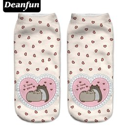 Wholesale Love Carton - Wholesale- Deanfun New 3D Printed Pusheen Love Women Socks Cute Low Cut Ankle Sock Multiple Cartons Fashion Style NW8