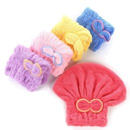Wholesale Shower Heads For Women - Useful Magic Hair Towel Cap Bathing Wrap Twist Hat Bowknot Soild Quick Dry Cap Head for Women Turban Hats Ladies Bath Tools
