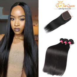 Wholesale Remy Hair Wefts - Queen Brazilian Virgin Hair Straight 4x4 Top Lace Closure With 3Bundles Remy Human Hair Wefts Silky Brazilian Straight Hair No Tangle