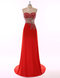 Wholesale Grape Pattern - Red Long Evening Dresses 2017 with beaded Patterns vestidos de noiva A Line skirts Sweetheart Neck Formal prom gowns free shipping