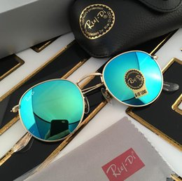 Wholesale Cases Free Shipping - 2017 new brand fashion sunglasses 50mm summer outdoor fashion metal round sunglasses men sunglasses women with original case free shipping
