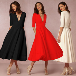 Wholesale White Casual Mid Dresses - Women Lady Girls Casual Fashion Sexy V-neck Black Red White Mid-sleeve Long Dress Skirts Clothes 3273