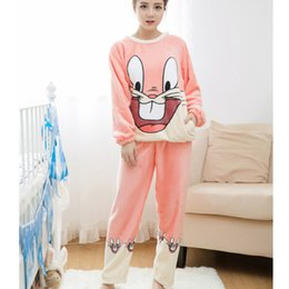 Wholesale Thick Warm Sleepwear - Wholesale- Adult Flannel Pajamas Sets mujer Adults Cartoon Thick Warm Women Pyjama Sets Sleepwear For Ladies Nightwear set M-2XL
