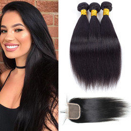 Wholesale Items Sell - New Arrival Grade 9a Cheap Brazilian Straight Hair Weave Bundles with Lace Closure Remy Human Hair Extensions Top Selling Items Just for you