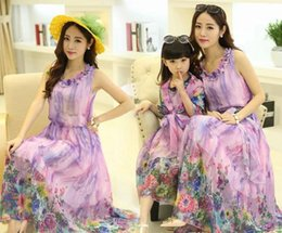 Wholesale Blue Mother S Dresses - Newest Family Dress Lavender Floral Bohemia Maxi Dress Mother and Daughter Matching Clothes Fashion Beach Long Dresses
