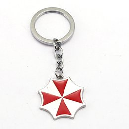 Wholesale Alice Resident Evil - New Arrival Movie Resident Evil Keychain Metal Red Umbrella Alice Keyrings Logo of Umbrella Corporation Key Hold Fashion Keychain for Kids