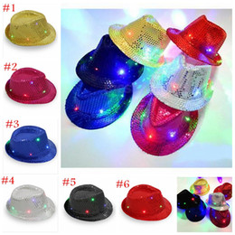Wholesale Led Cowboy Hats - Kids Led Hats Colorful Cowboy Jazz Sequins Hats Cap Flashing Children Adult Unisex Party Festival Cosplay Costume Hats Gifts 6 Colors YYA363