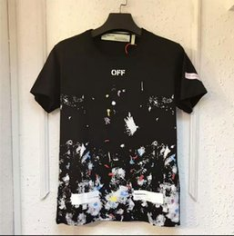 Wholesale Women Oversize T Shirt - 2017 new OW T-shirt Summer starry sky fireworks starry sky printing man and woman t-shirt oversize 100%cotton OW TEE