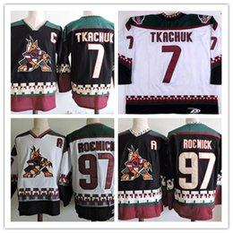 Wholesale Coyote Hockey - Mens Arizona Coyotes JEREMY ROENICK Black Classic Throwback Hockey Jerseys #7 KEITH TKACHUK PHOENIX COYOTES 1990s Vintage Jersey S-3XL