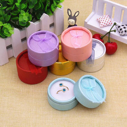 Wholesale Jewellery Paper Packaging - 5*3.5cm paper round ribbon ring box jewelry gift box ring box jewellery boxes and packaging 24pcs Lot