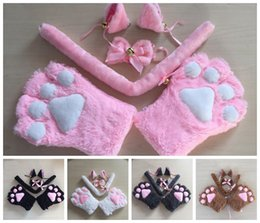 Wholesale Cashmere Fingerless Gloves Wholesale - 1 Set Cos Cat Maid Costumes Cat Ears Plush Paw Claw Gloves Bow Tie Tail Ribbon Anime Cosplay Costumes 5 Clors