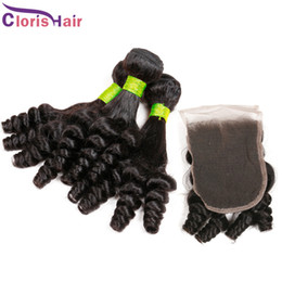 Wholesale Wholesale Funmi Virgin Hair - Unprocessed Aunty Funmi Hair With Closure Cheap Bouncy Romance Curls Virgin Brazilian Peruvian Human Hair Weaves Bundles With Lace Closure