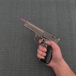 Wholesale Military Guns - Large Metal Pistol 54 PKK Browning Military Model Gun Prop Metal Lighter Windproof Metal Revolver Type Gun Lighter.