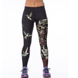 leggings bird print Promo Codes - Wholesale- Hot Sales! 3D Print Leisureing Leggings Women Skull Girl Birds Printed Fitness Leggings Workout Clothes For Women