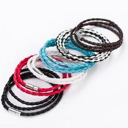 Wholesale Cheap Gold Chains For Men - Wholesale- Simple Handmade Leather Rope Cord Bracelets Woven Multilayer Cheap Wrap Bracelet For Women Men Sport Accessories Pulseira Femme