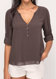 Wholesale Asymmetric Hem Casual Blouse - Women's Button Design V Neck Long Sleeve Loose Asymmetric Hem Chiffon Blouse Hot Sale Tops (763)