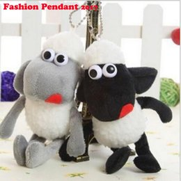 Wholesale Shaun Bag - Sheep Shaun Key chain Pompom plush keychain wool sheep woollen Pendant natural fur women's bags hangings