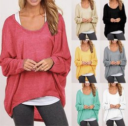 Wholesale Women T Shirt Large - Women Casual Tops Large Size Lady Fat MM Long Sleeve Spring Cotton T-shirt Upper Garment Mix Colors Drop Free Shipping
